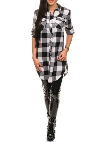 Koszula damska w kratę czarna Denley 935