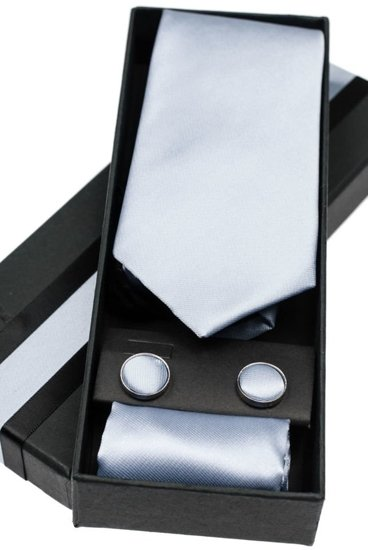 Komplet męski krawat, spinki, poszetka szary Denley KSP01