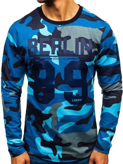 Bluza męska bez kaptura z nadrukiem moro-niebieska Denley 0743