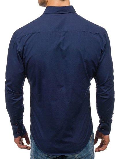 Koszula męska elegancka z długim rękawem granatowa Bolf 5827