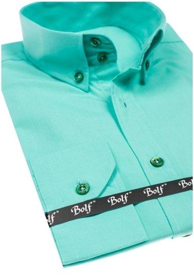 Koszula męska elegancka z długim rękawem jasnozielona Bolf 5821-1