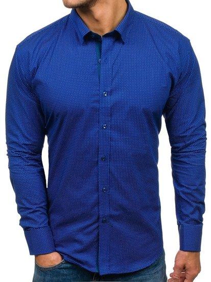 Koszula męska we wzory z długim rękawem kobaltowa Denley GE1018