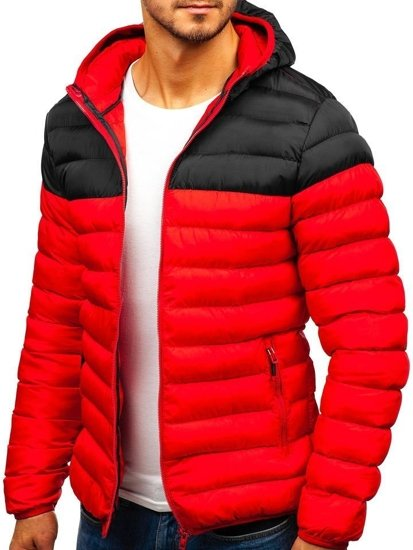 Kurtka męska zimowa sportowa czerwono-czarna Denley SM17