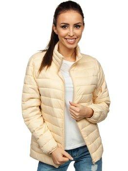 Beżowa pikowana kurtka damska przejściowa Denley 20311