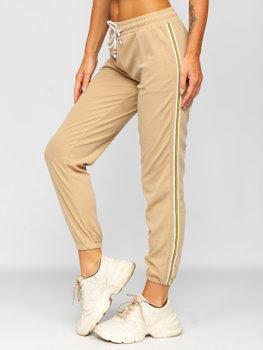 Beżowe spodnie dresowe damskie Denley YW01020B