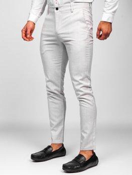 Beżowe spodnie materiałowe chinosy męskie Denley 0015