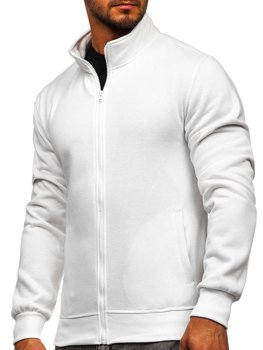 Biała bez kaptura bluza męska rozpinana Denley B2002