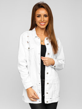 Biała długa katana jeansowa kurtka damska Denley WL1743-10