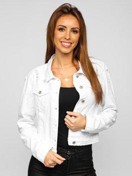 Biała krótka katana jeansowa kurtka damska Denley WL1746-10