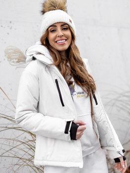 Biała kurtka zimowa narciarska damska Denley HH012