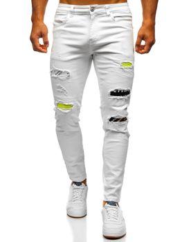 Białe jeansowe spodnie męskie skinny fit Denley KA1871-12