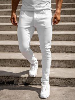 Białe jeansowe spodnie męskie skinny fit Denley KX576-12