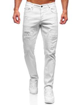 Białe spodnie jeansowe męskie regular fit Denley 4020-1