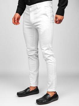 Białe spodnie materiałowe chinosy męskie Denley 0018