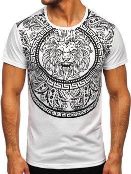 Biały T-shirt męski z nadrukiem Denley KS2389