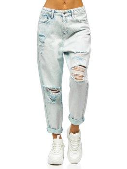 Błękitne spodnie jeansowe damskie mom fit Denley WL1691
