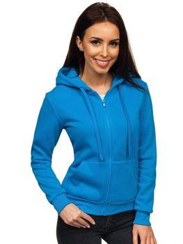 Bluza damska z kapturem jasnoniebieska Denley WB1005