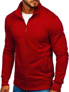 Bluza męska bez kaptura rozpinana bordowa Denley B002