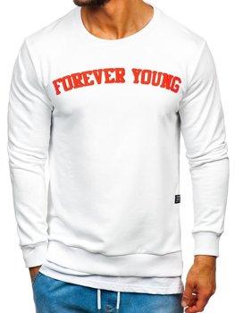 Bluza męska bez kaptura z nadrukiem FOREVER YOUNG biała Bolf 11116