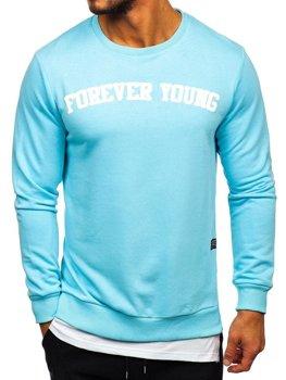 Bluza męska bez kaptura z nadrukiem FOREVER YOUNG błękitna Bolf 11116