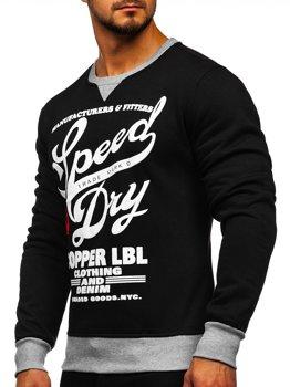 Bluza męska bez kaptura z nadrukiem czarna Denley J10