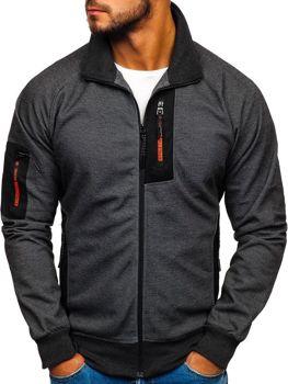 Bluza męska bez kaptura z nadrukiem czarno-pomarańczowa Denley 3842
