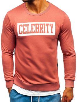 Bluza męska bez kaptura z nadrukiem różowa Bolf 11115