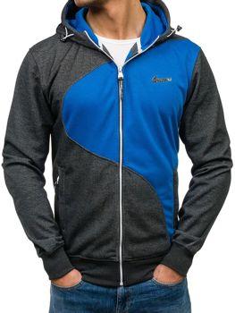 Bluza męska z kapturem antracytowo-niebieska Denley T955