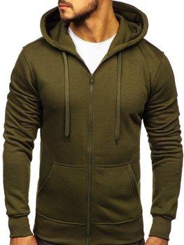 Bluza męska z kapturem oliwkowa Denley 2008-A
