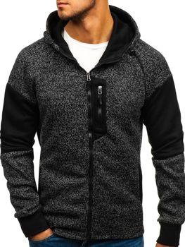 Bluza męska z kapturem rozpinana czarna Denley AK46