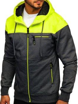 Bluza męska z kapturem rozpinana czarno-seledynowa Denley 2063