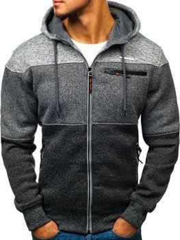 Bluza męska z kapturem rozpinana czarno-szara Denley TC814