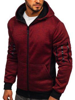 Bluza męska z kapturem rozpinana czerwona Denley 80581