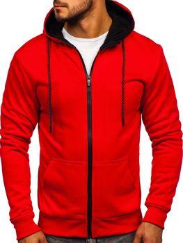 Bluza męska z kapturem rozpinana czerwona Denley DD02