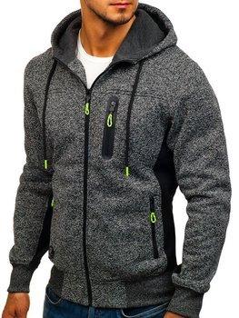 Bluza męska z kapturem rozpinana grafitowa Denley TC911