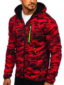 Bluza męska z kapturem rozpinana moro-czerwona Denley DD99-2