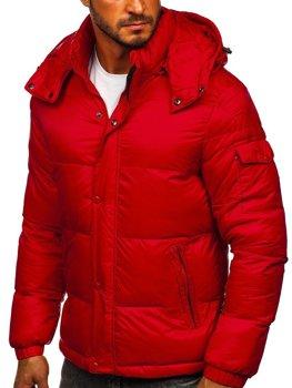 Bordowa pikowana kurtka męska zimowa Denley 1161
