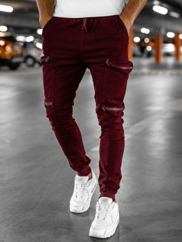 Bordowe spodnie joggery bojówki męskie Bolf 0475