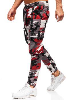 Bordowo-czerwone spodnie joggery bojówki męskie Bolf 11105