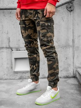 Brązowe spodnie joggery bojówki męskie moro Denley CT6019