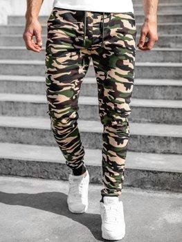Brązowe spodnie męskie dresowe moro Denley 5958