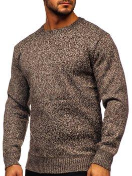 Brązowy ocieplany sweter męski Denley 7M117