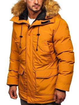 Camelowa kurtka męska zimowa parka  Denley 1176