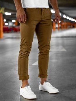 Camelowe spodnie chinosy męskie Denley 1146