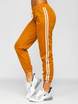 Camelowe spodnie dresowe damskie Denley YW01020D