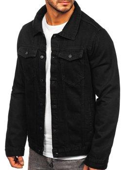 Czarna jeansowa kurtka męska Bolf 2-3