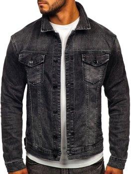 Czarna jeansowa kurtka męska Denley XSF78268