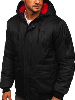 Czarna kurtka męska zimowa Denley HY821