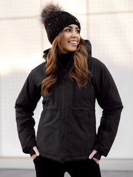 Czarna kurtka zimowa narciarska damska Denley HH012