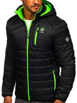 Czarna pikowana przejściowa kurtka męska sportowa Denley BK031